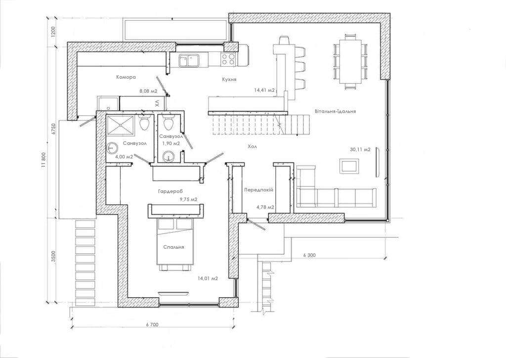 """План першого поверху одноповерхового будинку """"Стелс"""""""